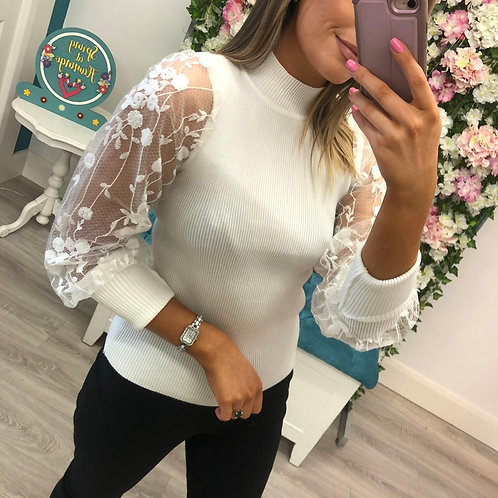 Lace sleeve jumper in white