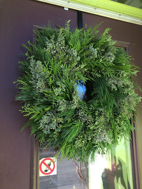 Natural greens hand wrapped Wreath