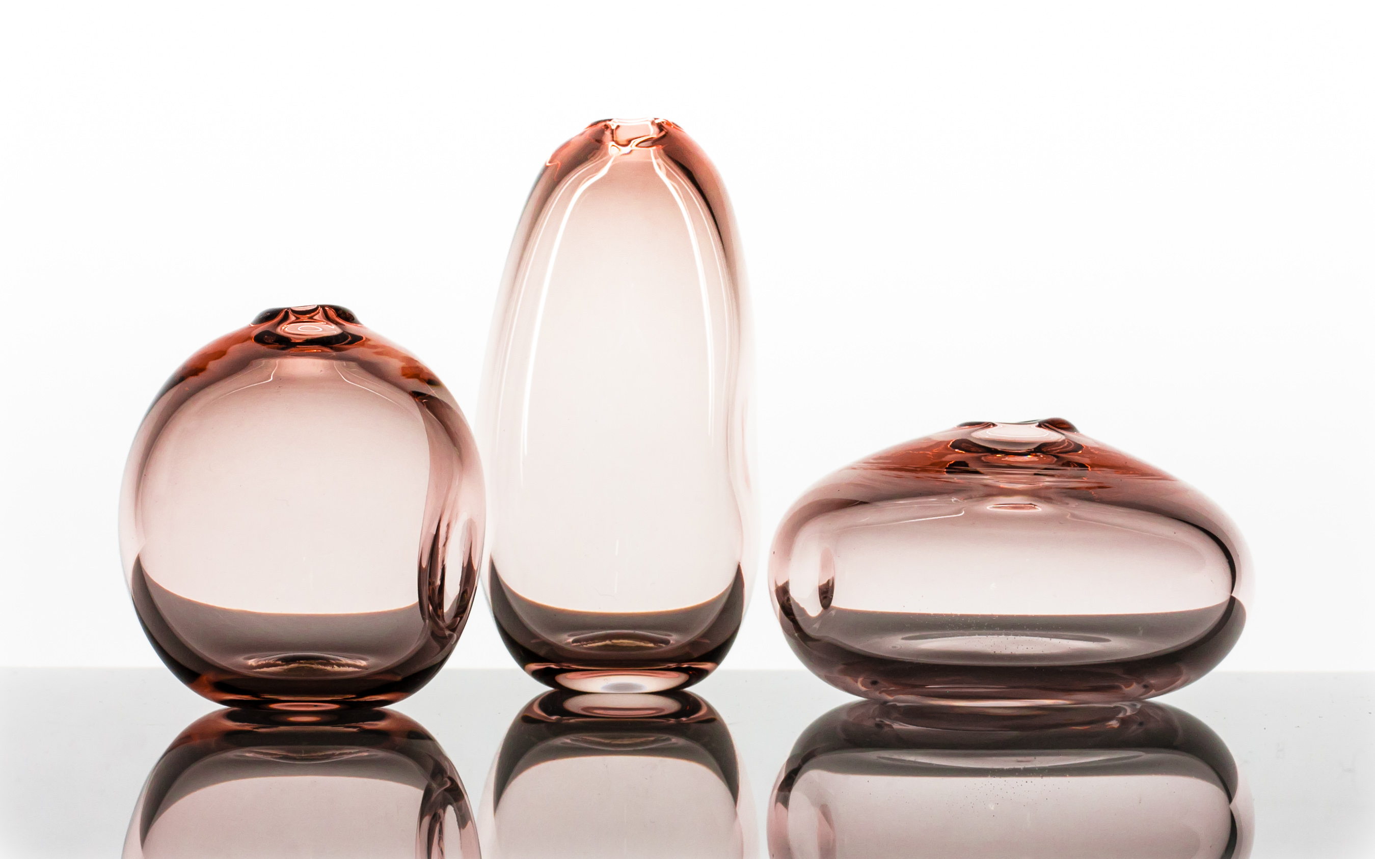 Dimple Vase, Handblown Glass, Tea