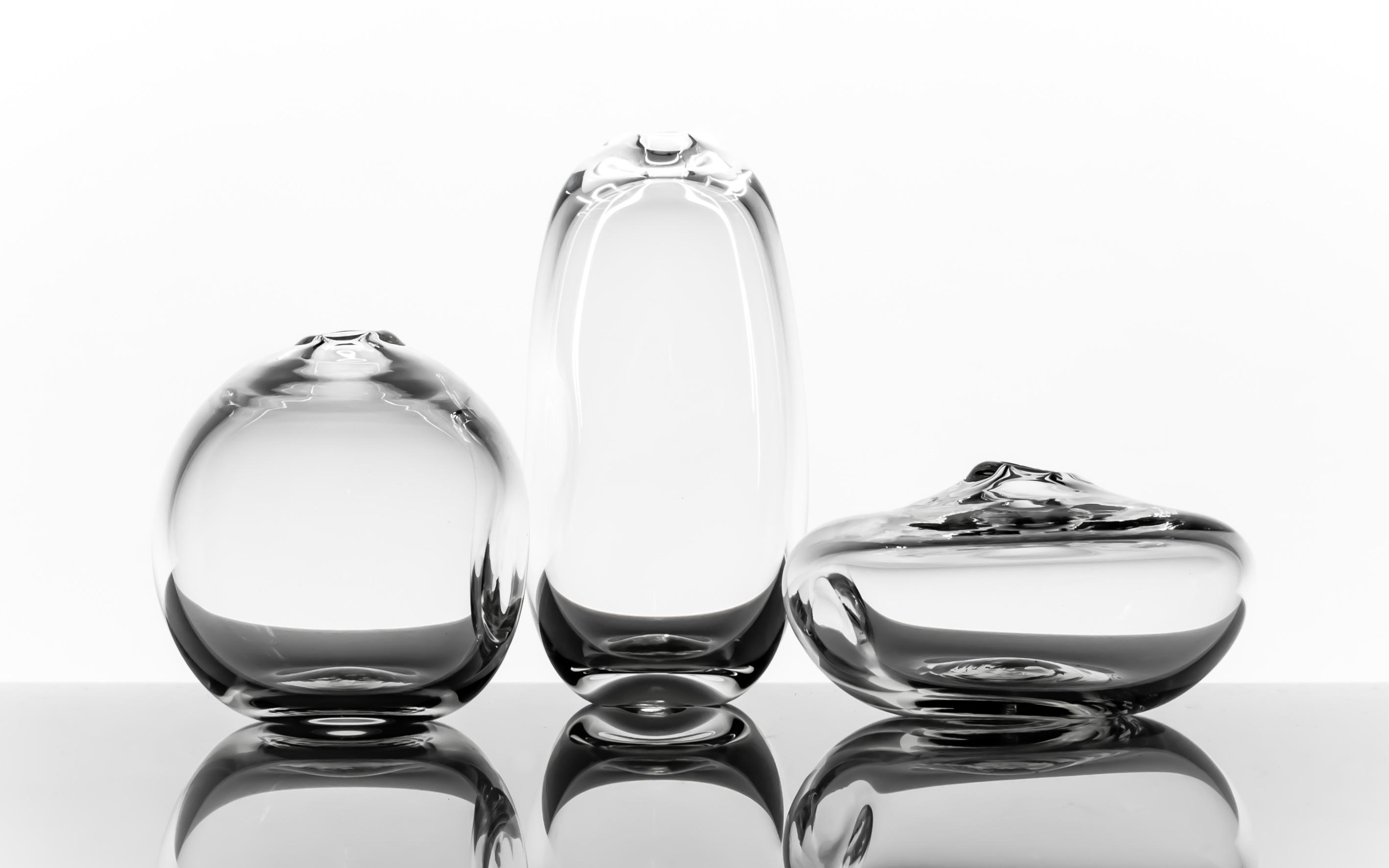 Dimple Vase, Handblown Glass, Clear