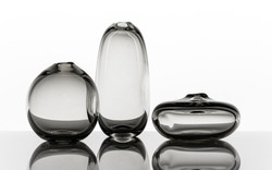 Dimple Vase, Handblown Glass, Grey