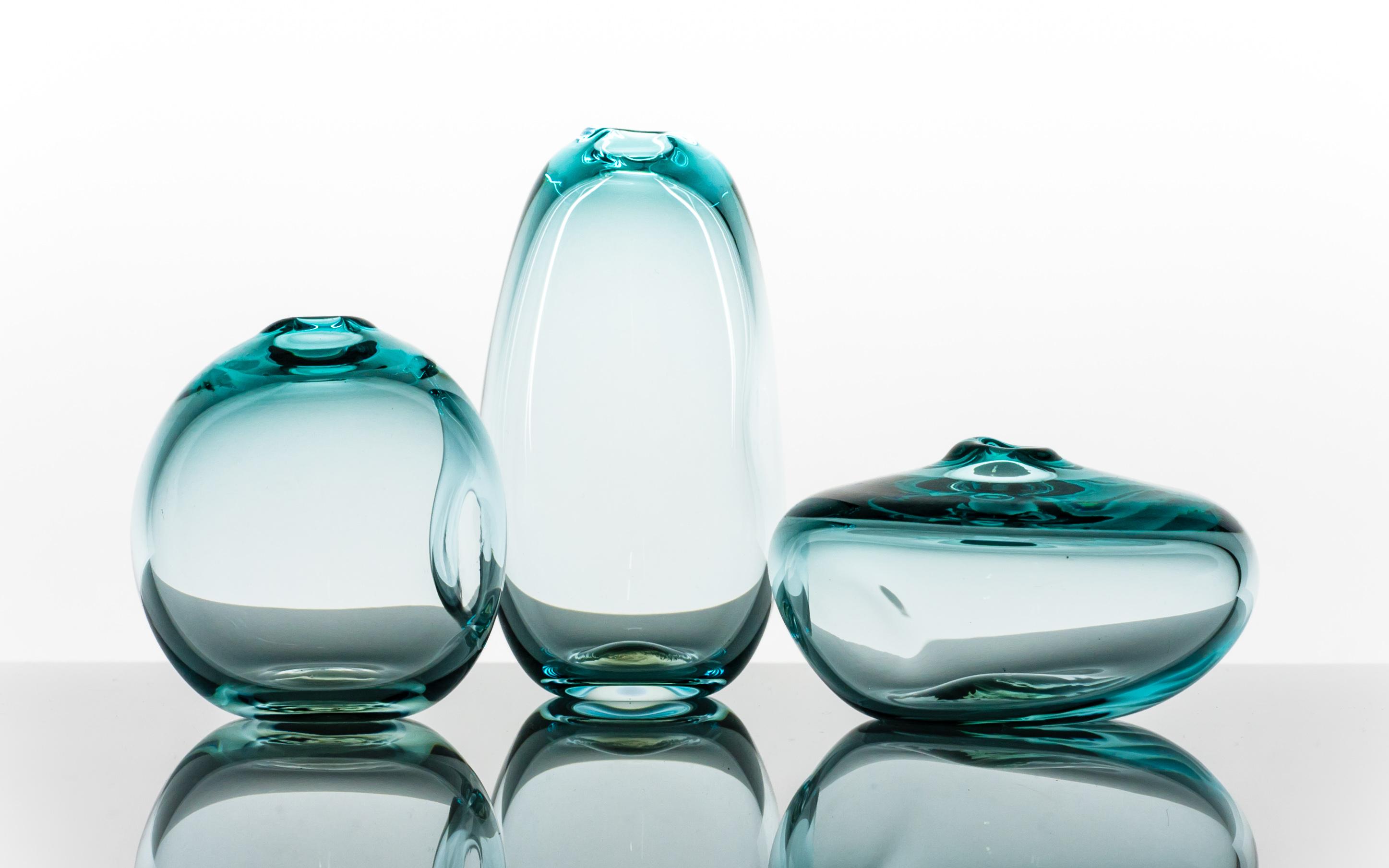 Dimple Vase, Handblown Glass, Green