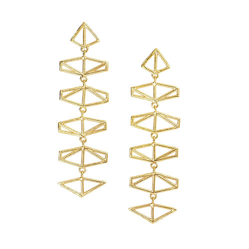 Chevron Drop Earrings - gold-plated