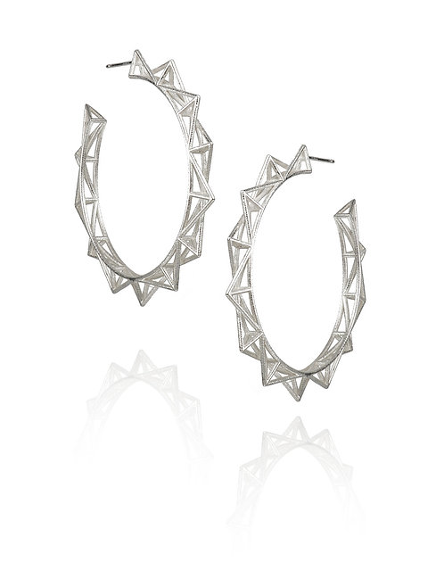 Punk Hoop Earrings - silver