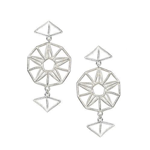 Star Drop Earrings - silver