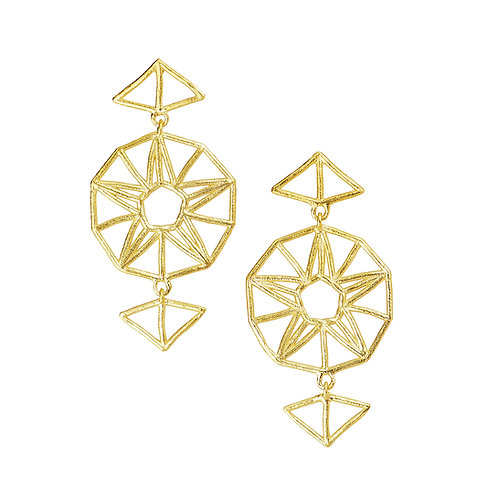 Star Drop Earrings - gold-plated