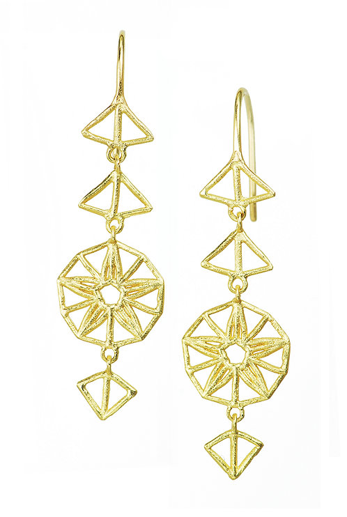 Sooting Stars, recycled gold 18 karat, 18ct gold, star earrings, handmade jewellery, handcrafted jewelry, drop earrings,