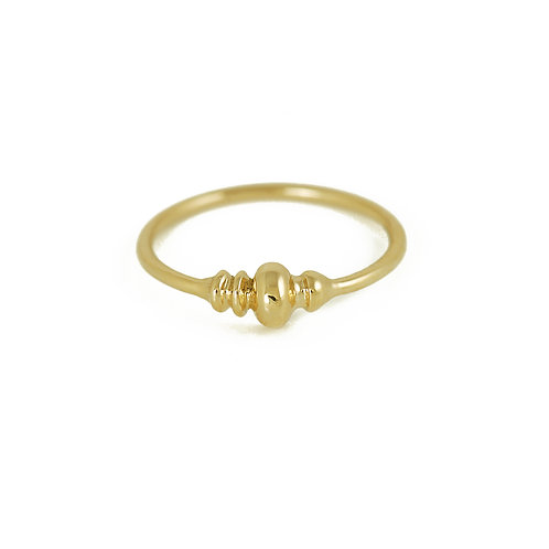 Gold detail ring solid gold pirouette ring size layering London jewelry
