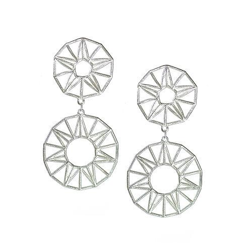 Sun & Stars Drop Earrings - silver