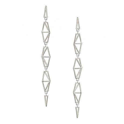 Chevron / Spike Drop Earrings - silver