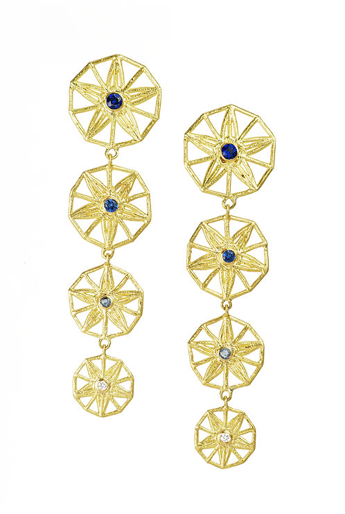 sapphire star earrings, gradulated colour, recycled gold, long drop earrings, handcrafted jewellery