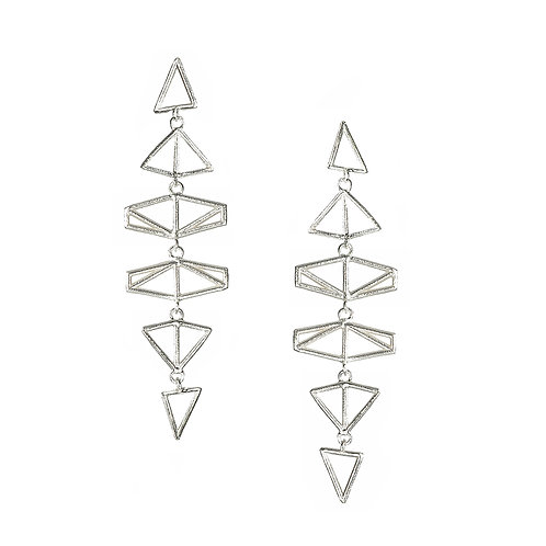 Chevron / Triangle Drop Earrings - silver