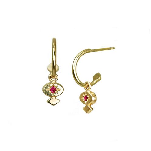 Star-set Drop Earrings - diamond, ruby, emerald