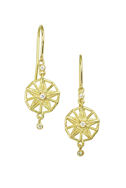 Diamond drop earring, recycled gold, star earrings, delicate hook earrings, dainty jewellery, handmade jewelry, I bought it