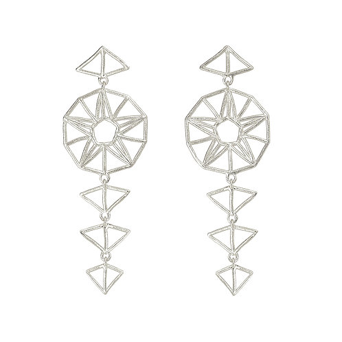 Tribal Star Drop Earrings - silver