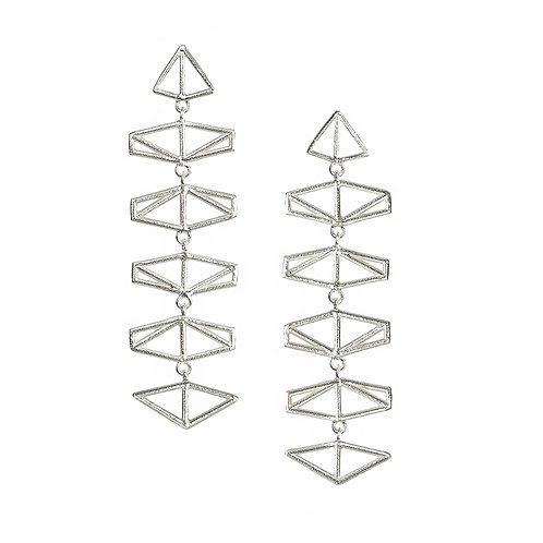 Chevron Drop Earrings - silver