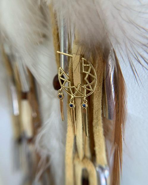 Dreamcatcher Sapphire Tassle Hoops