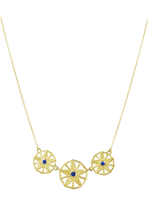 triple sapphire star necklace, unique design, delicate fine jewellery, understated, sparkling gold, september birth stone