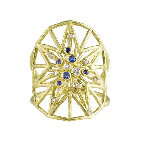 statement dress ring, costume ring, cocktail ring, party wear, shield ring, unique design, sapphire and diamonds, star ring