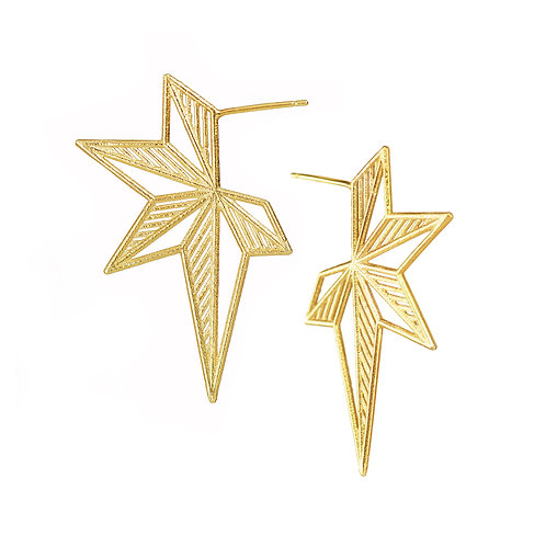 Hatched Star Earrings - gold-plated