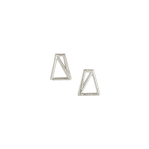 Trapezoid Studs - silver