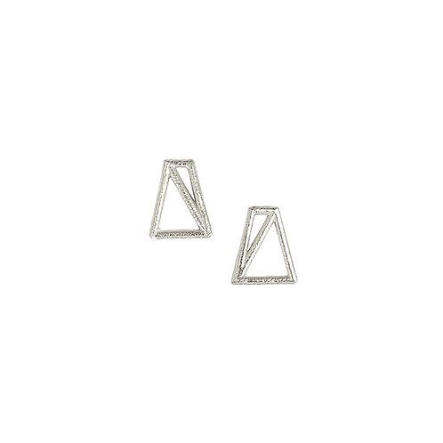 Trapezoid Studs - silver