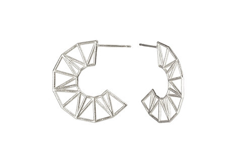 Sunburst Hoops - silver earrings