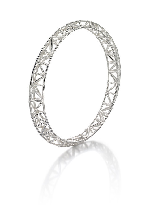 Asymmetric Bangle - silver