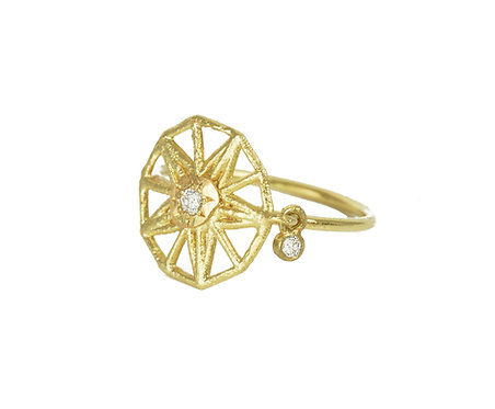 Diamond Charm Pinky Ring