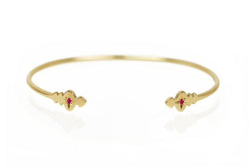 Star-set Pirouette Bangle - ruby, emerald
