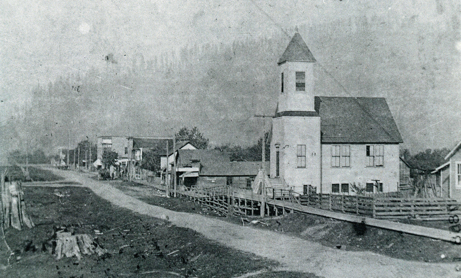Congregational Church, early street scene // Clear Lake, WA // Circa 1906-1912