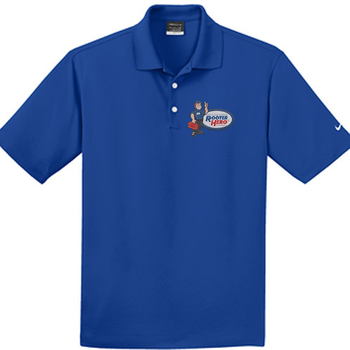 Embroidered Blue Short Sleeve Nike Polo