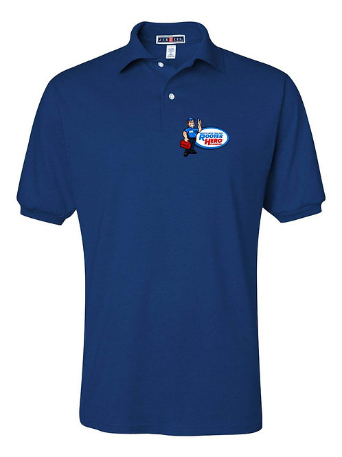 Embroidered Blue Polo Shirt
