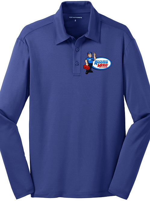 Embroidered Blue Long Sleeve Polo