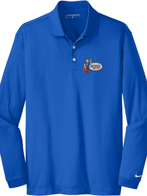 Embroidered Blue Long Sleeve Nike Polo