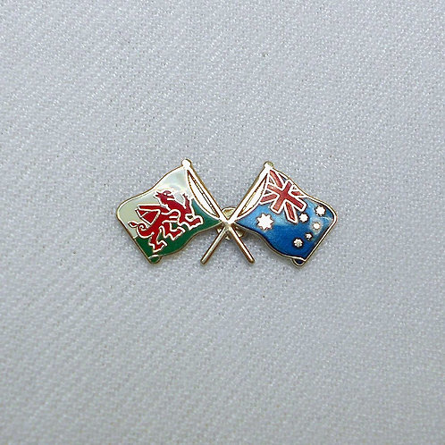 Welsh-Australia Crossed Flags Lapel Pin Badge