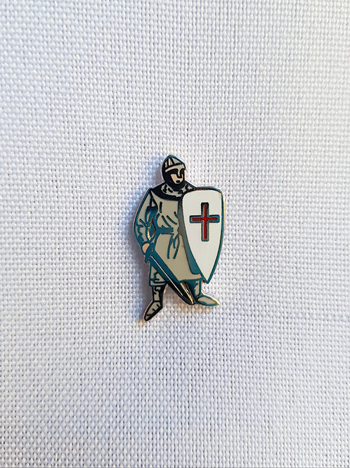Knight with Sword and Shield Lapel Pin Badge