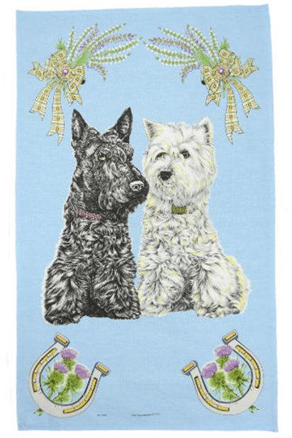 Scottish Dogs Tea Towel
