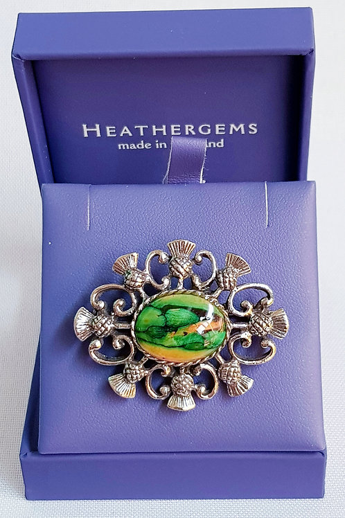 Heathergems Pewter Thistles Brooch