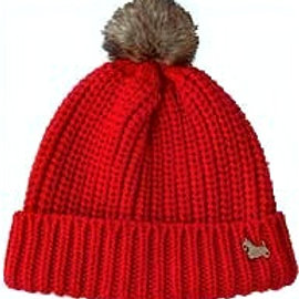 Rib Knit Scottie Red Beanie Hat
