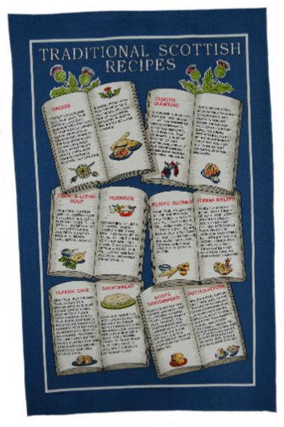 Scottish Recipes Books Tea Towel