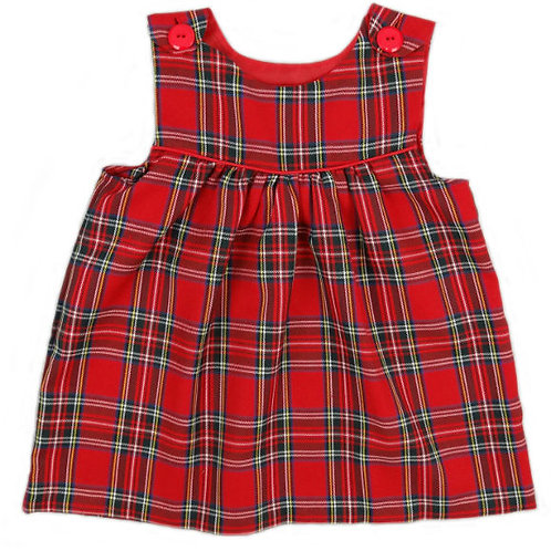 Royal Stewart Tartan Dress with Button Shoulder