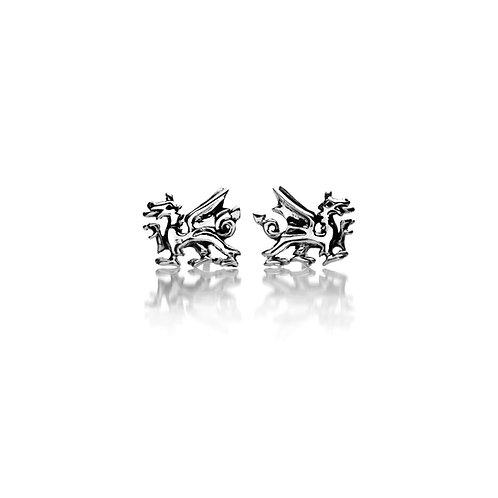 Silver Stud Earrings Welsh Dragon