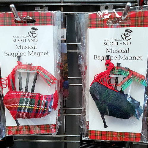 Red or Green Tartan Musical Bagpipe Magnet