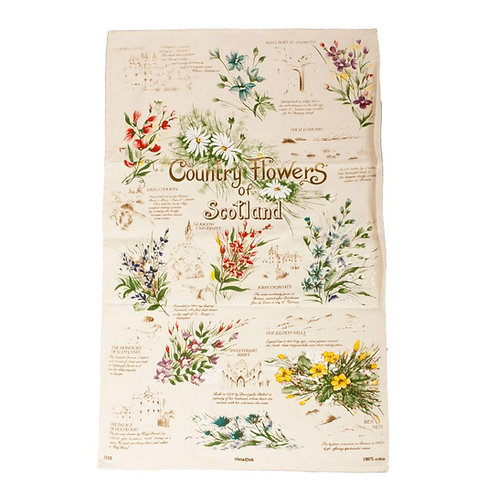 Country Flowers of Scotland Tea Towel