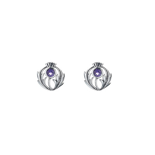 Silver Studs Thistle with Amethyst Round