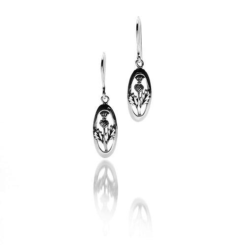 Silver Earrings Celtic Thistle Oval