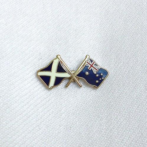 Saltire-Australia Crossed Flags Lapel Pin Badge