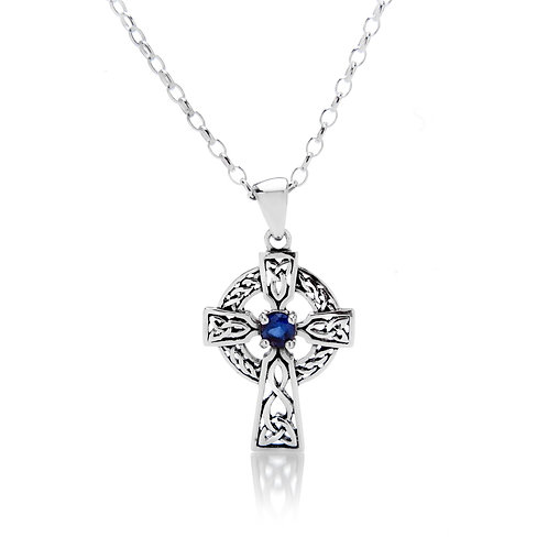 Blue CZ Celtic Cross Pendant