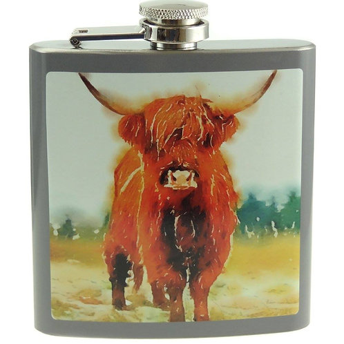 6oz Highland Cow Hip Flask